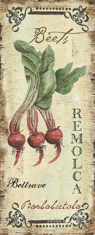 Kitchen Art Print featuring the painting Vintage Vegetables 3 by Debbie DeWitt