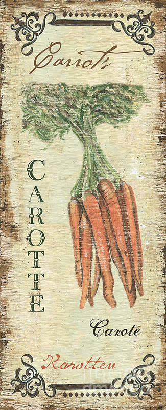 Kitchen Art Print featuring the painting Vintage Vegetables 4 by Debbie DeWitt