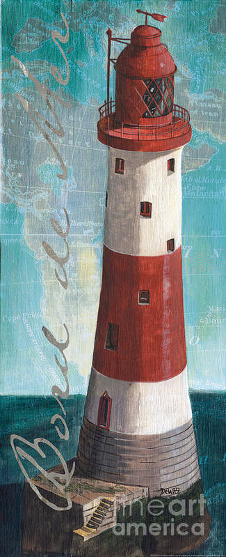 Lighthouse Art Print featuring the painting Bord De Mer 1 by Debbie DeWitt