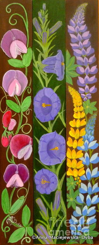 Flowers Art Print featuring the painting Flowers Composition 6 by Anna Folkartanna Maciejewska-Dyba