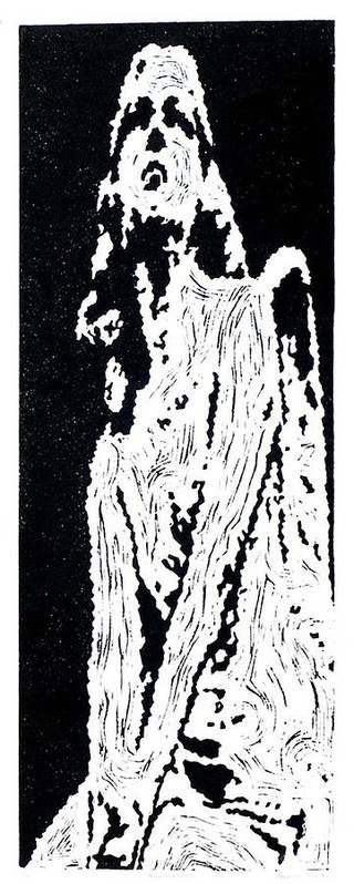 Black Art Print featuring the painting Heavenward -- Hand-pulled Linoleum Cut by Lynn Evenson