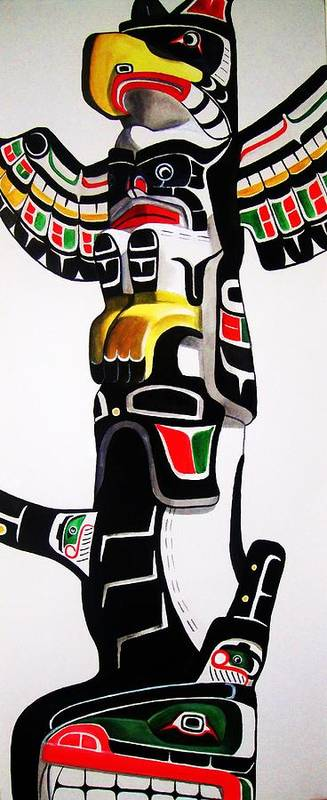 Totem Art Print featuring the painting Thunderbird And Whale Totem by Lucy Deane