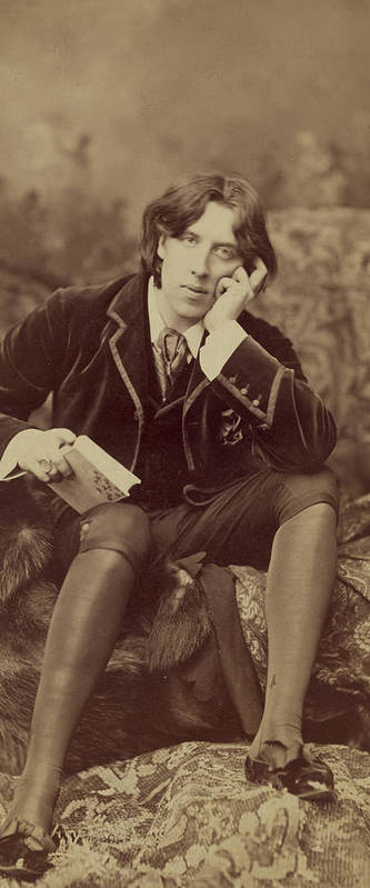 Oscar; Wilde; Irish; Writer; Poet; Author; Dandy; Photograph; Sepia; Black; White; Velvet; Smoking; Jacket; Breeches; Wearing; Stockings; Full; Length; Seated; Oscar Wilde Art Print featuring the photograph Oscar Wilde 1882 by Napoleon Sarony