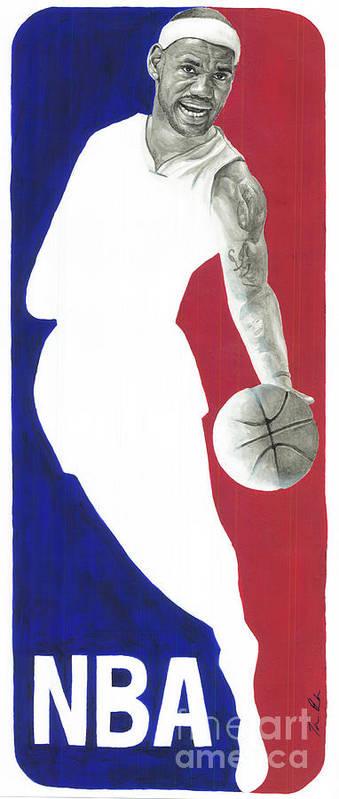 Lebron James Art Print featuring the painting Lebron Nba Logo by Tamir Barkan