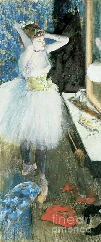 Dancer In Her Dressing Room Art Print featuring the pastel Dancer In Her Dressing Room by Edgar Degas