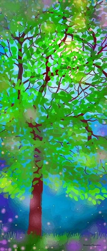 Landscape Art Print featuring the digital art July Night by Sharon Marcella Marston