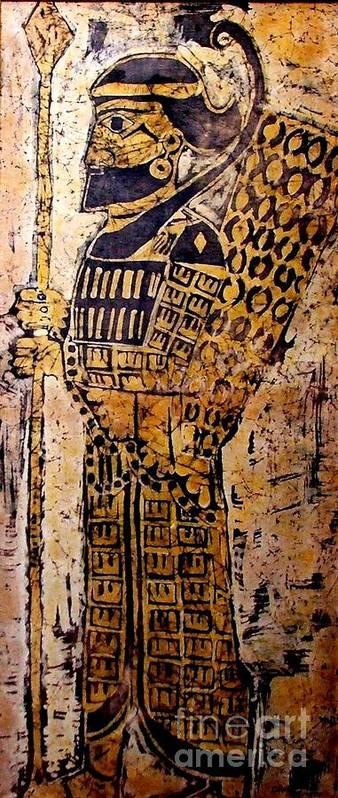 Batik Art Print featuring the mixed media Assyrian Soldier by Caroline Street