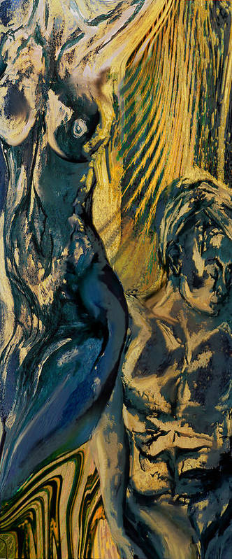 Man Woman Human Human Beings Love Sex Body Naked Nude Young Art Print featuring the painting Loss Of Innocence by Anne Weirich