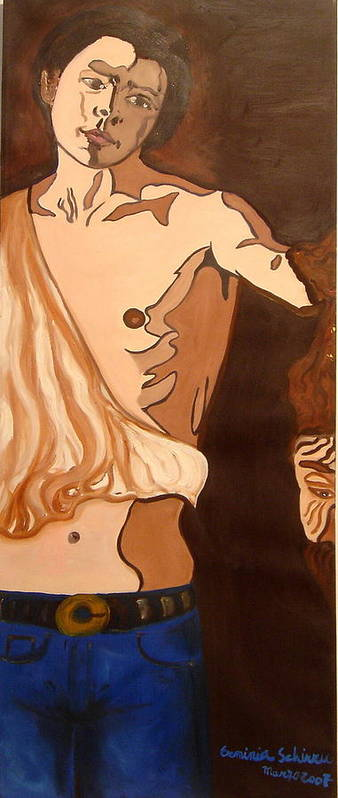 Figurative Art Print featuring the painting The Mask Man by Erminia Schirru
