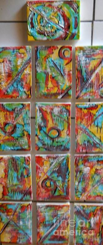 Abstract Art Print featuring the painting Totem by Hilton Woodside