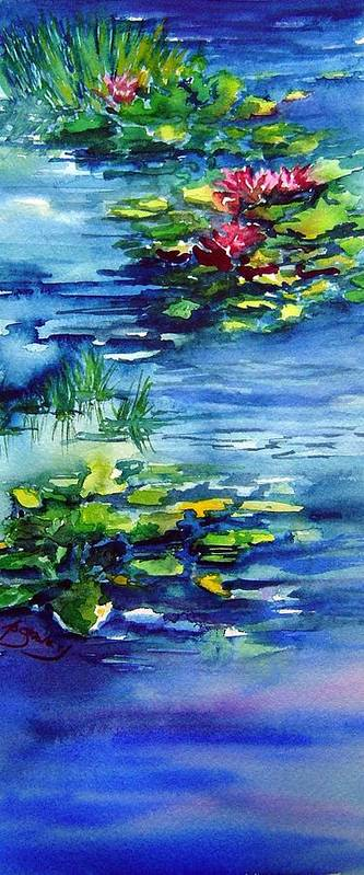 Waterlilies Art Print featuring the painting Waterlilies by Joanne Smoley