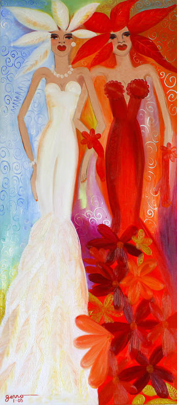 Haute Couture Artwork Art Print featuring the painting Pearl and June by Helen Gerro