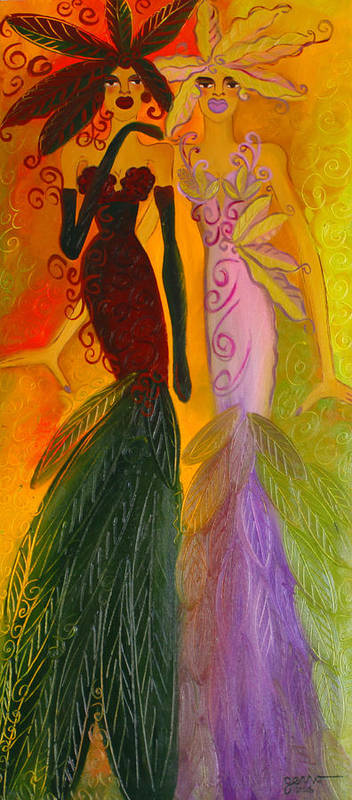 Haute Couture Artwork Art Print featuring the painting Ruby and April by Helen Gerro