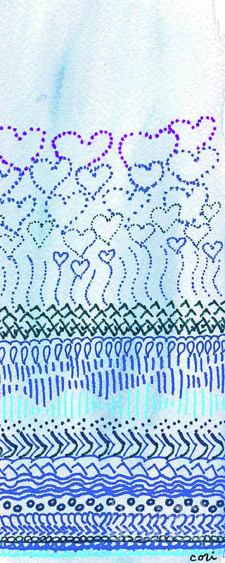 Blue Art Print featuring the drawing Blue Hearts Rising by Corinne Carroll