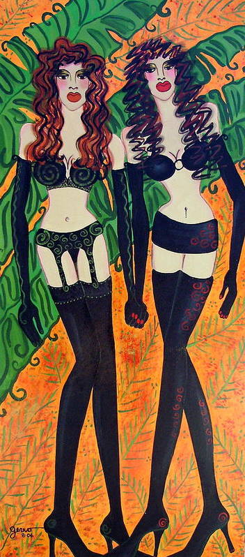 Lingerie Artwork Art Print featuring the painting Models in Black Lingerie by Helen Gerro