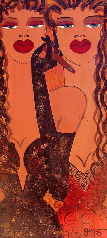 Cigar Artwork Art Print featuring the painting Cigar Bar Couture by Helen Gerro