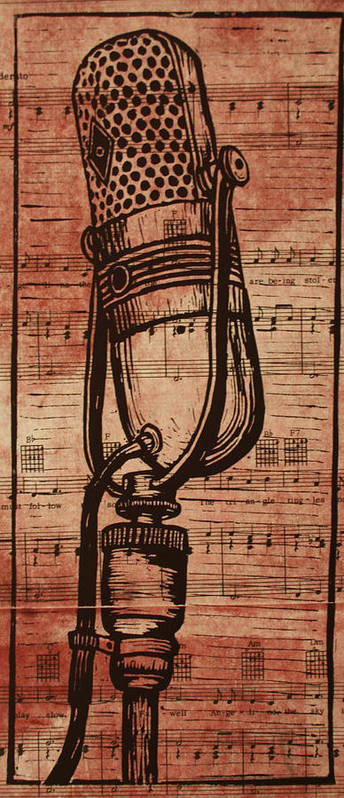 Rca Print featuring the drawing Rca 77 On Music by William Cauthern