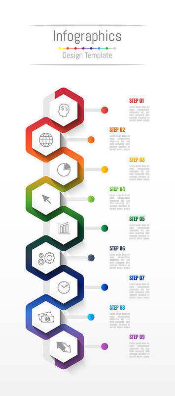 Infographic Design Elements For Your Business Data With 9 Options, Parts,  Steps, Timelines Or Processes  Vector Illustration  Art Print