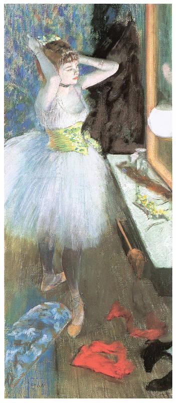 Dancer In Her Dressing Room Art Print featuring the painting Dancer In Her Dressing Room by Edgar Degas