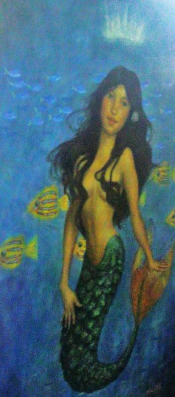Topless Print featuring the painting Mermaid by Alexandro Rios