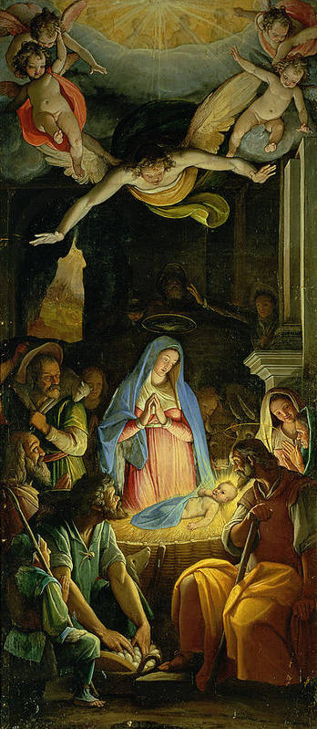 Christmas Print featuring the painting The Adoration Of The Shepherds by Federico Zuccaro