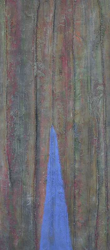 Tree Trunk Blue Abstract Nature Art Print featuring the painting Trunk by Sally Van Driest