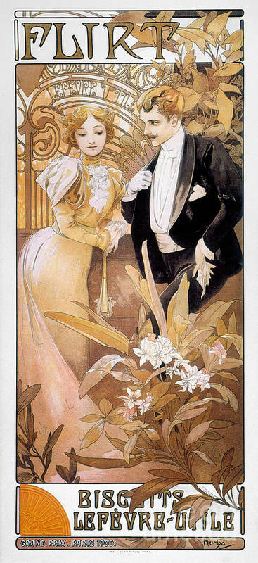 1895 Art Print featuring the photograph Mucha: Biscuit Ad, C1895 by Granger
