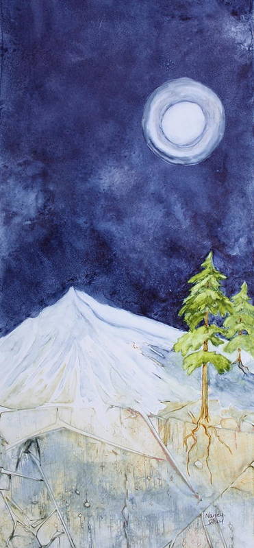 Moon Art Print featuring the painting By The Light Of The Moon by Nancy Jolley