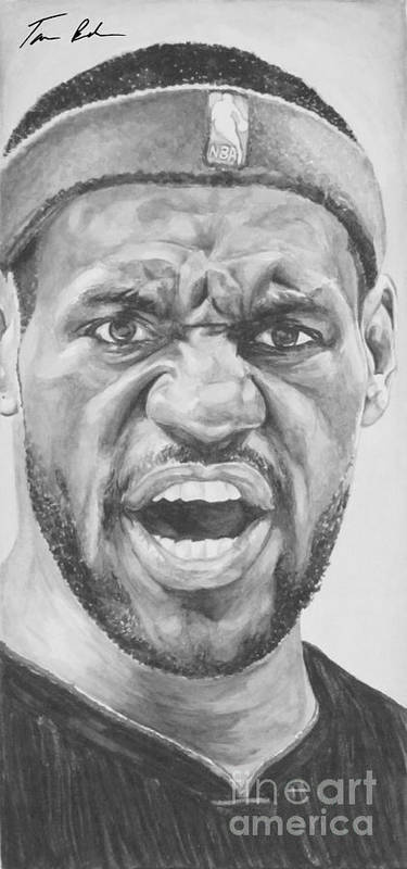Lebron Print featuring the painting Intensity Lebron James by Tamir Barkan