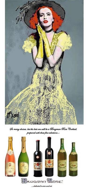 Wine Art Print featuring the digital art Cabaret Girl by Herb Russel