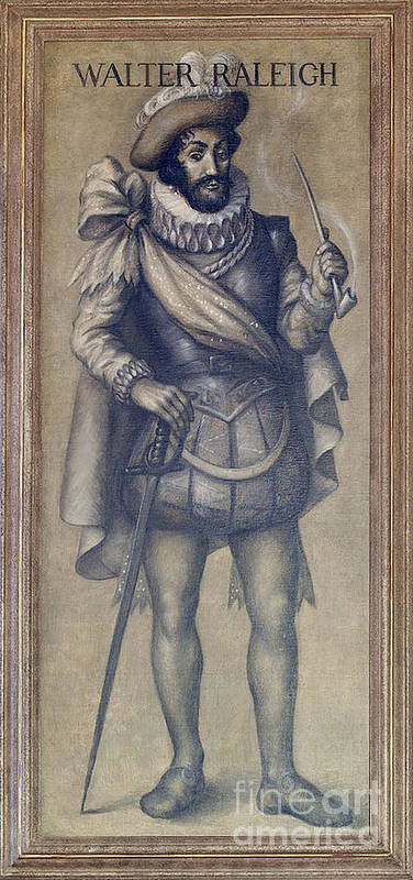 History Print featuring the photograph Walter Raleigh, English Explorer by Photo Researchers