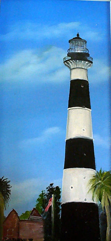 Cape Canaveral Lighthouse Art Print featuring the painting Cape Canaveral Lighthouse by Darlene Green