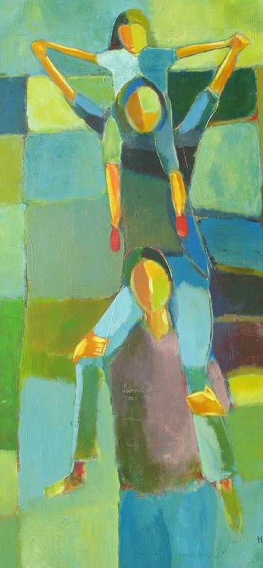 Abstract Art Print featuring the painting Family Joy by Habib Ayat