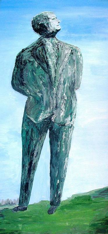 Blue Sky Art Print featuring the painting Happy Complacent Ceo Or Politician by Bruce Combs - REACH BEYOND