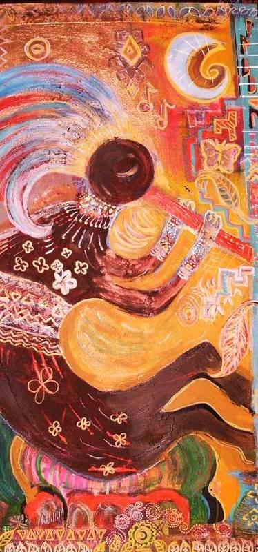 Kokopelli Art Print featuring the mixed media Kokopelli Jazz by Anne-Elizabeth Whiteway