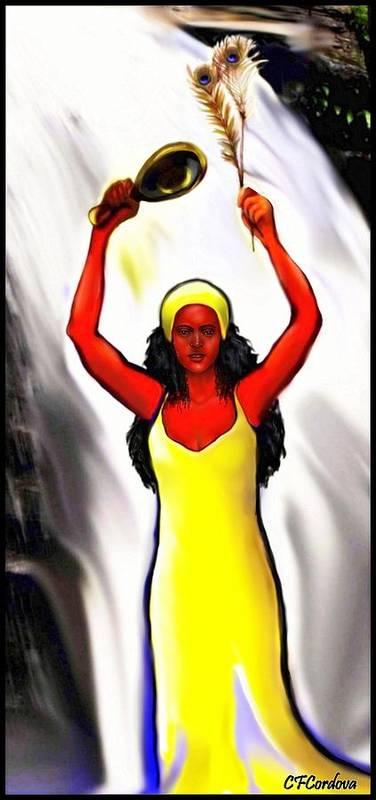 Oshun Art Print featuring the digital art Oshun -goddess Of Love -4 by Carmen Cordova
