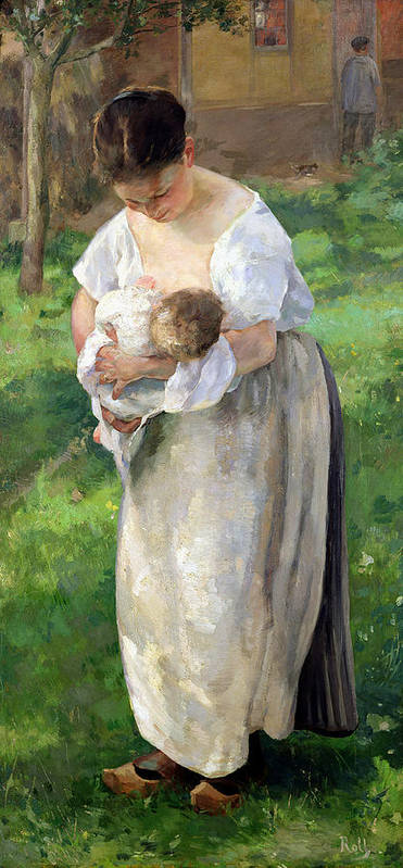 Wet Art Print featuring the painting The Wet Nurse by Alfred Roll