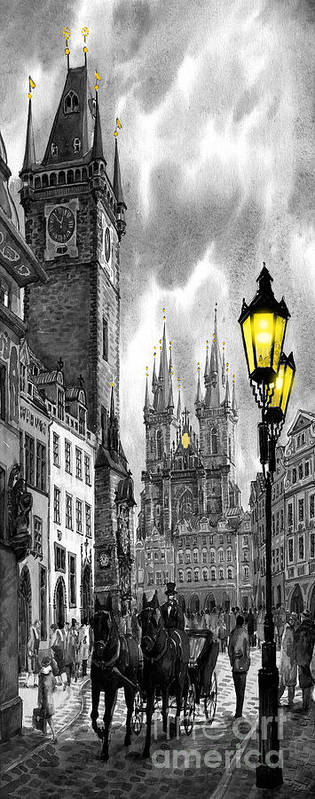 Geelee.watercolour Paper Art Print featuring the painting Bw Prague Old Town Squere by Yuriy Shevchuk