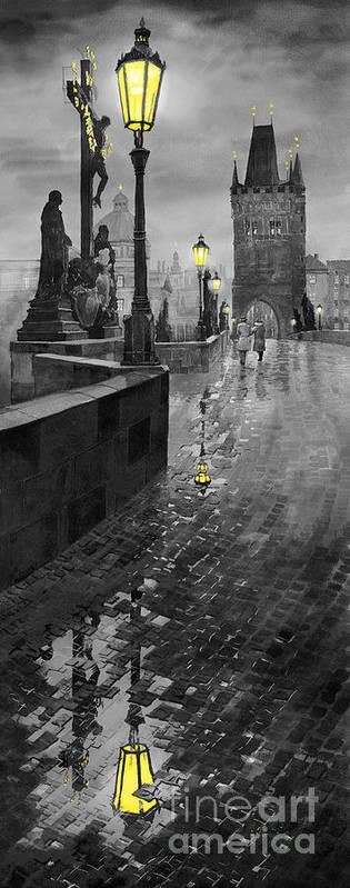 Prague Art Print featuring the painting Bw Prague Charles Bridge 01 by Yuriy Shevchuk