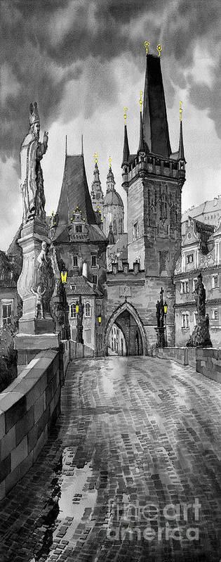 Prague Art Print featuring the painting Bw Prague Charles Bridge 02 by Yuriy Shevchuk
