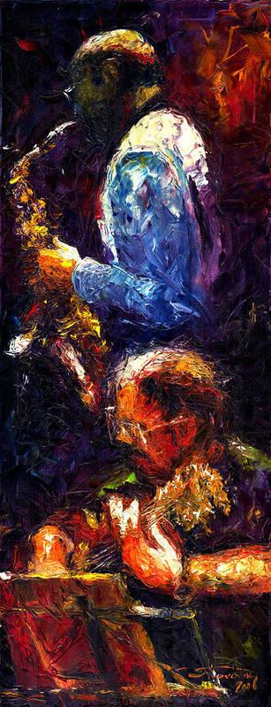 Jazz Art Print featuring the painting Jazz Duet by Yuriy Shevchuk