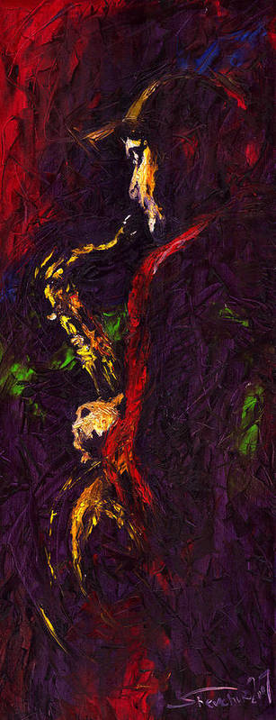 Jazz Art Print featuring the painting Jazz Red Saxophonist by Yuriy Shevchuk