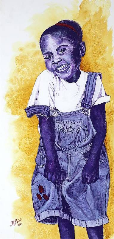 Orphan Art Print featuring the painting A Smile For You From Haiti by Margaret Bobb