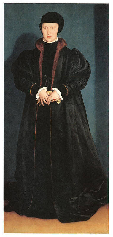 Hans Holbein The Younger Art Print featuring the painting Christina Of Denmark Duchess Of Milan by Hans Holbein the Younger