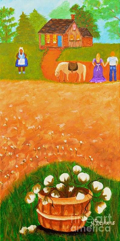 Folk Art Print featuring the painting Company Come To Call by Nina Stephens
