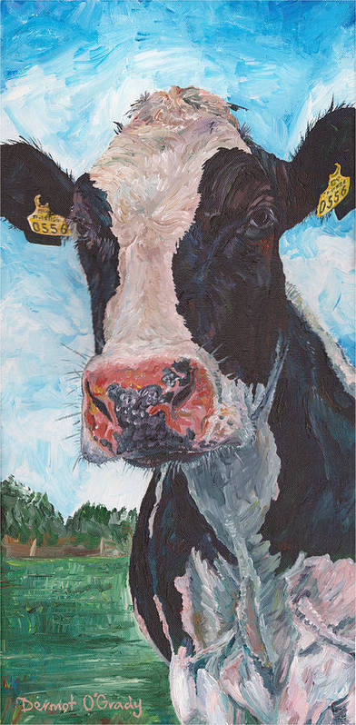 Animal Painting Art Print featuring the painting Cow No 05. 0556 Irish Friesian Cow by Dermot OGrady