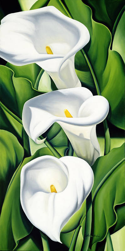 Lilies Print featuring the painting Lilies by Catherine Abel