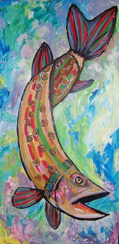Muskie Art Print featuring the painting Muskie by Krista Ouellette
