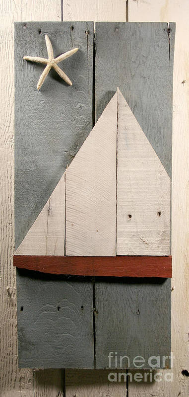 Wood Art Print featuring the sculpture Nautical Wood Art 01 by John Turek