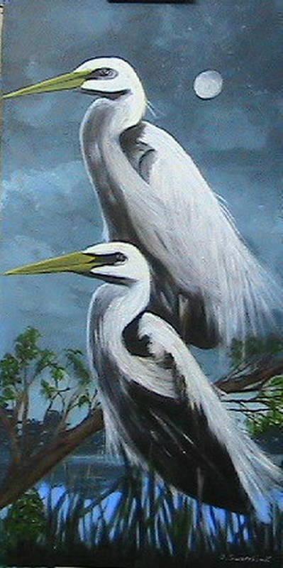 Wildlife Art Print featuring the painting Night Egrets by Catherine Swerediuk